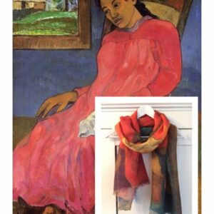 Art shawl Gauguin woman in red dress