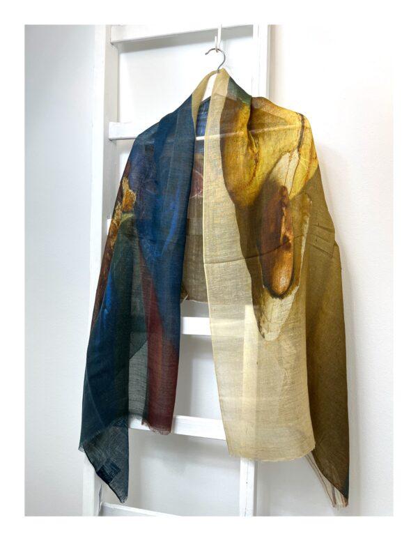 Ajour gebreide shawl, jade groen