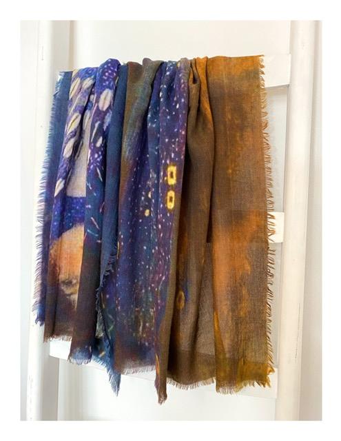 Shawl, Gustav Klimt, nachtblauw