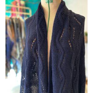 Ajour gebreide shawl, mint