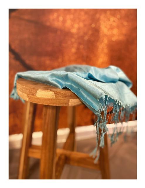 Zijden stola shawl, turquoise