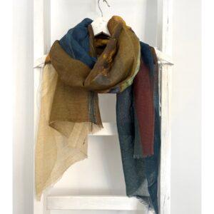 Ajour gebreide shawl, petrol blue