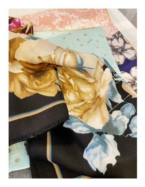 Rozen shawl, blauw   zwart