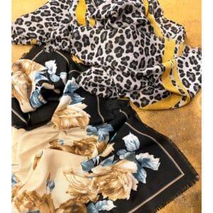 Dierenprint shawl, zwart, zand, oker