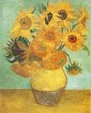 kunst shawl, zonnebloemen