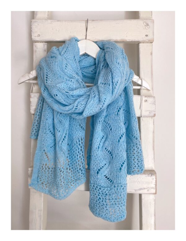 basic shawl, los gebreid baby blue
