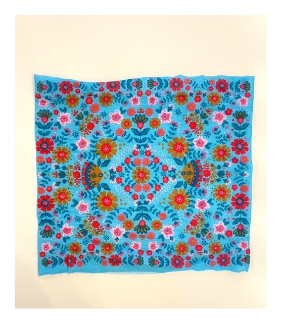 Half Boho Bandeau, blauw mandala bloemen