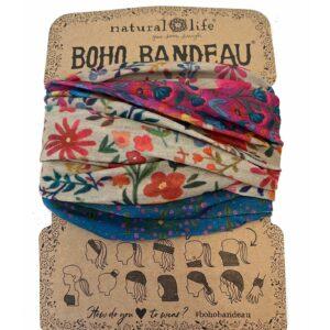 Boho Bandeau, haar sjaal cirkels blauw