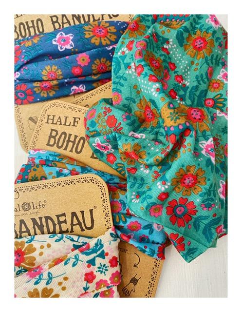 Half Boho bandeau haarband, groen bloemen