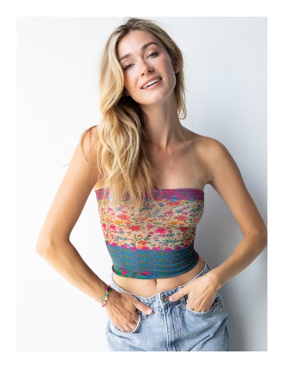 Boho Bandeau | haarband, geel met bloemen