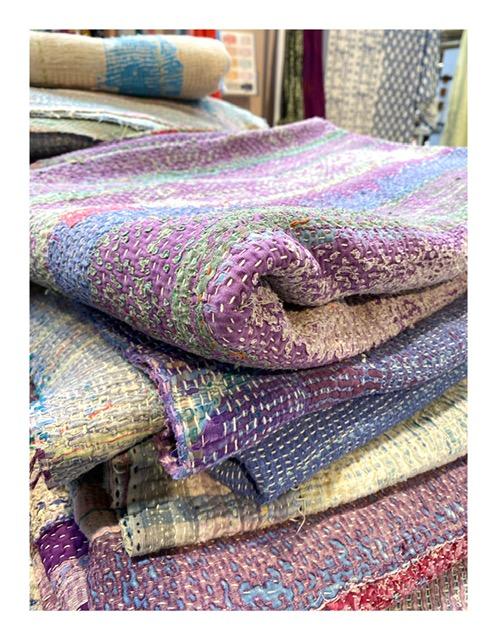 Kantha home plaid, paars en blauw