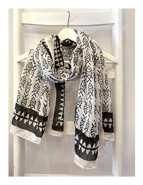 Otracosa pareo shawl, zwart wit visjes