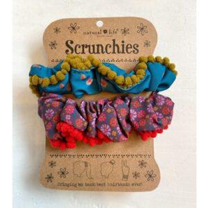 PomPon scrunchies set, flowers