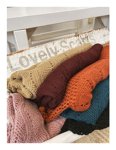 ajour gebreide Lovely Scarfs shawl